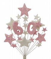 Number age 60th birthday cake topper decoration in pale pink and white - free postage